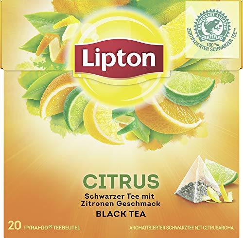 Lipton Schwarzer Tee Zitrone Pyramidenbeutel, 20 Stück, 3er Pack - Zitrone Tee