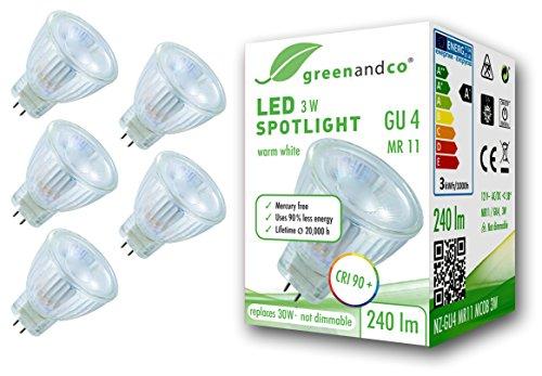 5x greenandco® CRI 90+ LED Spot ersetzt 30W GU4 MR11 Strahler, MCOB 3W 240lm 3000K warmweiß 38° 12V AC/DC flimmerfrei nicht dimmbar 2 Jahre Garantie (Lampe Strahler Halogen-schmale)