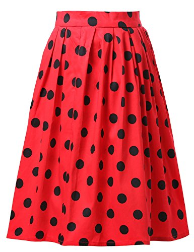 GRACE-KARIN-50s-Vintage-Floral-Swing-Full-Circle-Pleated-Skirts-19-Colors-XS3XL-YF6294