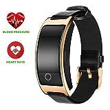 Sport Armbanduhr,Zimingu Smart Bracelet mit Pulsmesser und Schrittzähler / Schlafanalyse / Wecker /SMS Anrufe Bluetooth 4.0 Fitness Tracker Aktivitätstrack (gold)