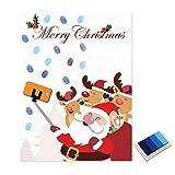 nbvmngjhjlkjl Weihnachten Weihnachtsmann Gästebuch Personalisierte Party Geschenke Fingerabdruck Malerei DIY Partydekorationen für Wohnzimmer - Blau