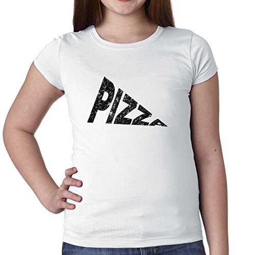 Simple Pizza Slice Word Graphic Girl's Cotton Youth T-Shirt