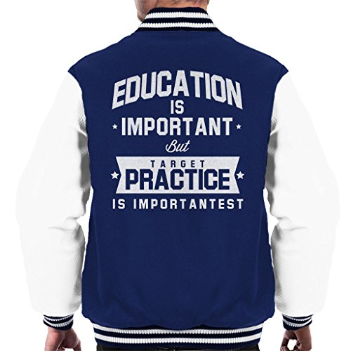 Coto7 Education Is Important But Target Practice Is Importantest Men's Varsity Jacket - Airsoft Guns Scifi
