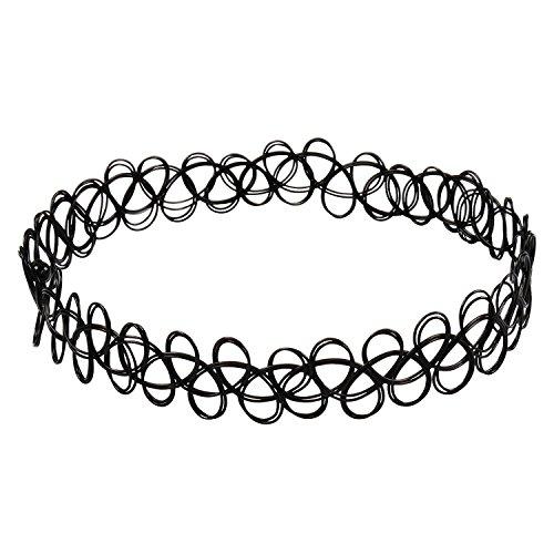 3x negro Tattoo Gargantilla Collar Vintage Stretch elástico Gargant