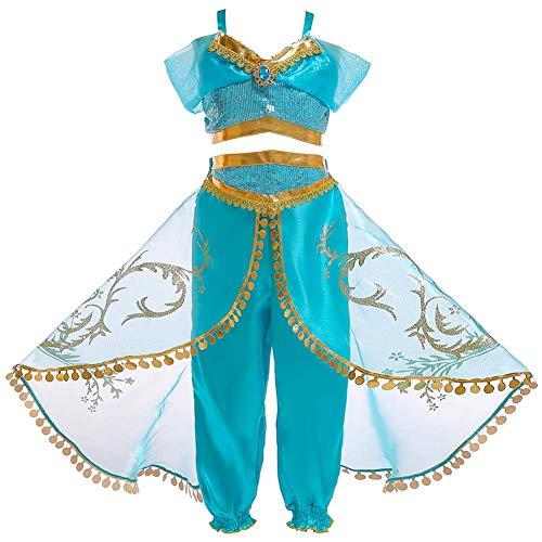 OwlFay Disfraz Aladdin Niña Vestidos de Princesa Jazmín Tops Pantalones con Capa y Diadema Traje Carnaval Cosplay Navidad Regalo Cumpleaños Fiesta Costume 13-14 Años