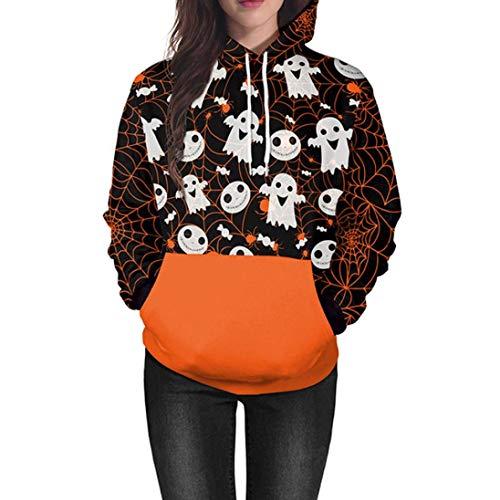 (URSING Liebhaber Scary Halloween Ghost 3D-Druck Party Shirt Langarmshirt Damen Casual Sweatshirt Hoodie Pullover mit Taschen Sweatjacke Unisex Kapuzen Kleidung Fashion Streetwear (Orange,XL))