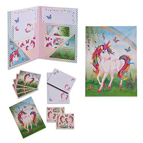 Lucy Locket Magisches Einhorn Briefpapier-Set für Kinder (Schreibpapier, Briefumschläge und Postkarten im Set)