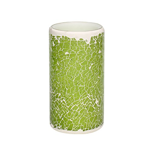 "Mosaic Flameless LED Candle with Timer, Battery-Powered 3 x 6"", Light Green"