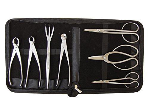 Genki-Bonsai Profi Bonsai-Werkzeugset   Hochwertige Edelstahl-Werkzeug   7-Teiliges Set   Inkl. Werkzeugtasche