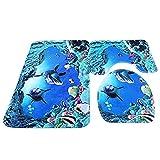 Lalang Badezimmer Teppich Set, 3 Stück Matte Rutschfest Bad-Teppich + Pedestal-Teppich + Toiletten-Abdeckung, Unterwasserwelt Blau