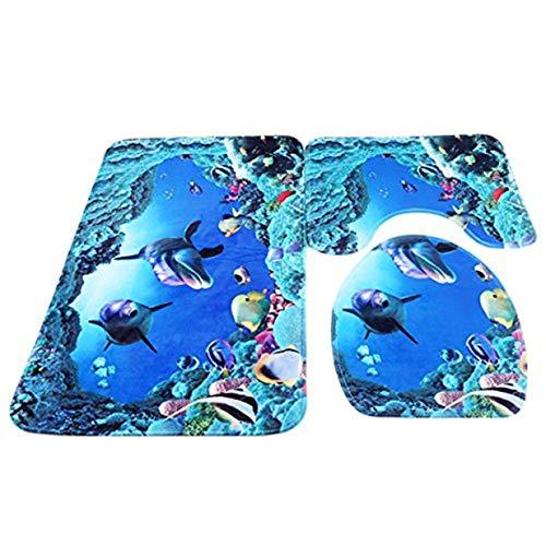 Lalang Badezimmer Teppich Set, 3 Stück Matte Rutschfest Bad-Teppich + Pedestal-Teppich + Toiletten-Abdeckung, Unterwasserwelt Blau (Teppiche Für Badezimmer)