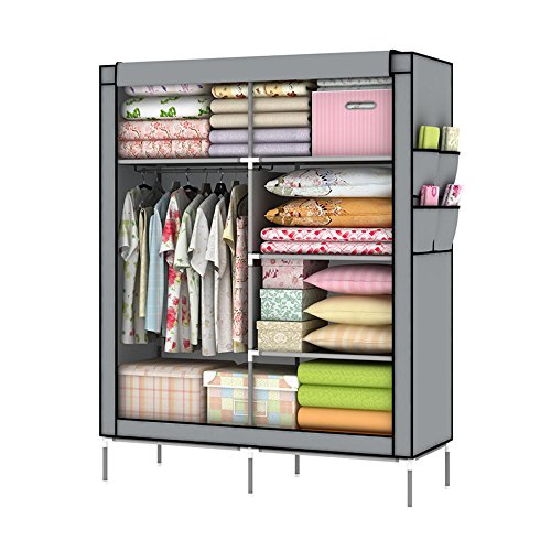 Lagute  Clothes Wardrobe Portable Double Storage Closet Organizer Non-woven Curtain with Shoe Rack Shelves
