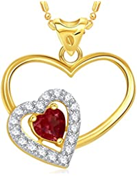 V. K. Jewels Red Stone Double Heart Gold And Rhodium Plated Alloy Pendant With Chain For Women