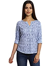 Bombay High Women's 100% Cotton All Over Printed Roll up Sleeves Casual Top
