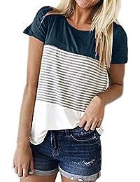 21df940b014650 MRULIC Frauen Kurzarm Dreifach Farbe Block Streifen T-Shirt Casual Bluse Damen  Shirt Weisse Bluse