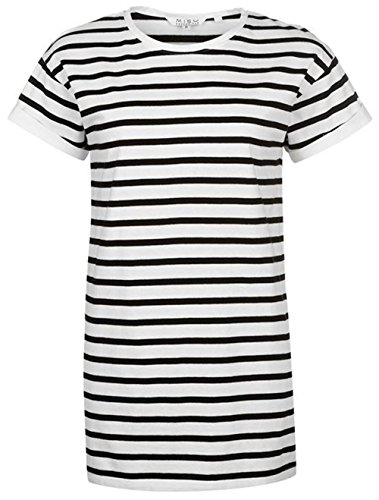 a37c18f49354 Ladies Branded Miso Lightweight Long Line Yarn Dye Boyfriend T Shirt (16,  White/Black)