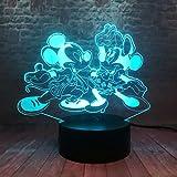 Lumière De Nuit 3D Illusion Lumière Danse Mickey Et Minnie Anime Modèle 3D Veilleuse Led 7 Couleur Jouets De La Famille Mickey Mouse