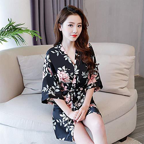 Fennd Sexy Nachthemd_2018 Neue Simulation Seide sexy weiblichen Sommer EIS Seide koreanische Version der Versuchung Druck Spitze Kimono Bademantel Großhandel @ Black Bottom Print_XL -