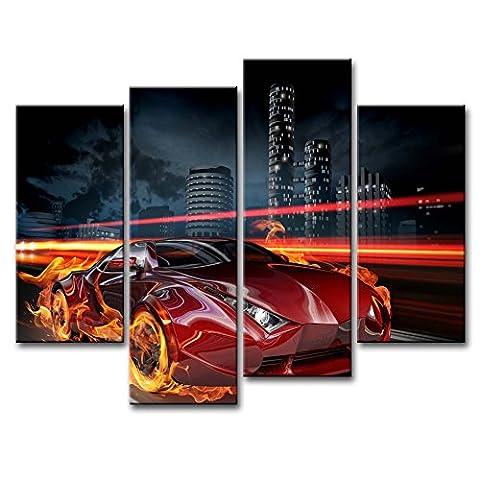 Leinwanddruck Bild Race on the Night Streets Fire Rot Auto Running arcoss City Building 4Stück Gemälde Moderne Giclée-gespannt und gerahmt Kunstwerk das Auto Bilder Foto Prints auf Leinwand