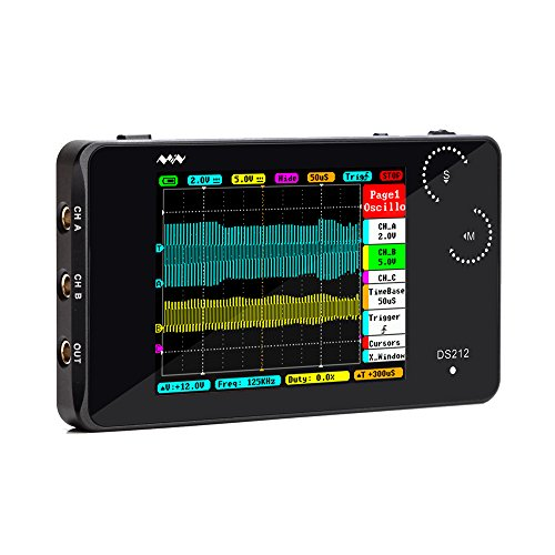"KKmoon Digital Oszilloskop DS212 DSO 2 Kanal Taschenformat USB Schnittstelle 2,8""Vollfarb TFT Display 8MB Speicherbandbreite 1 MHz Abtastrate 10MSa/s"