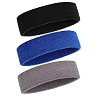 ONUPGO Sweatband Headband for Men & Women - 3PCS Sports Headbands Moisture Wicking Athletic Cotton Terry Cloth Sweatband Sweat Absorbing Head Band (Black/Grey/Blue)