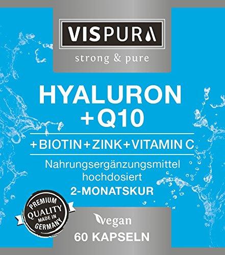 Hyaluronsäure hochdosiert 200mg + Coenzym Q10 100mg pro vegane Kapseln 2 Monatskur, HOHE Bioverfügbarkeit Micro-Molecular von 500-700 kDa Qualitätsprodukt-Made-in-Germany - 5