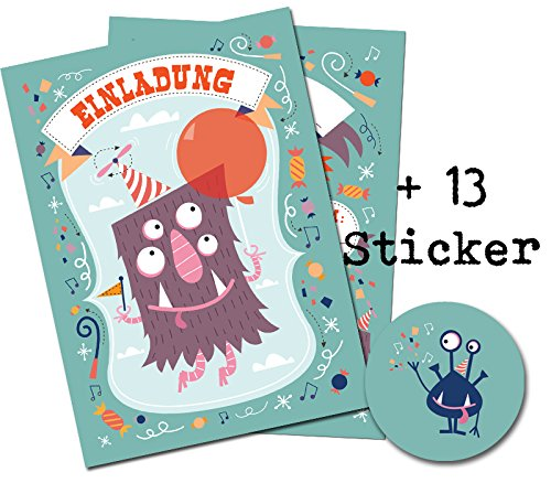 12 Einladungskarten zum Kindergeburtstag + 13 Sticker GRATIS - Monster Motiv / für Junge und Mädchen / Halloween Party Mitgebsel Geburtstagseinladungen Karten Set Einladungen Geburtstag Kinder