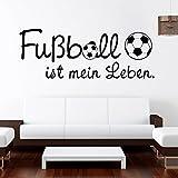 Original Wandtattoo Loft Wandaufkleber Fußball ist mein Leben / 49 Farben / 4 Größen / schwarz / 35 x 94 cm/ hergestellt in und Versand aus Deutschland