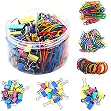 240 Pieces Assorted Colored Large/Medium/Small Binder Clips,Jumbo/Small Paper Clips,Rubber Bands,Paper Clamps Foldback Clips for Office School Home Document Organizing Daily DIY Use