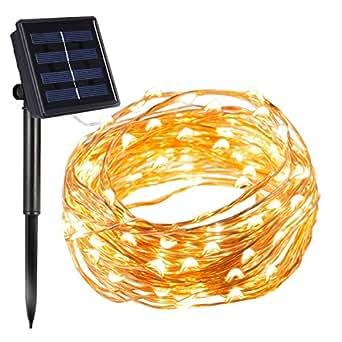 InnooLight 200er LED Solar Kupferdraht Lichterkette Warmweiß & Hellgelb 20 Meter, mit 1,5 Meter Zuleitung, Wasserdichte Solar Außen Sternen Lichterketten Beleuchtung mit 8 Modi und Memory-Funktion für Indoor und Outdoor Dekoration