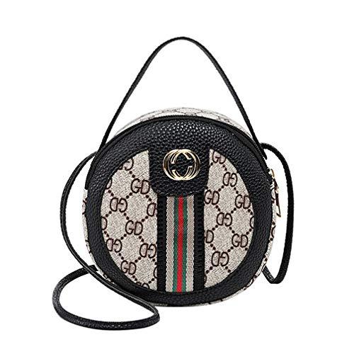JUND 2018 Frau Vintage PU Leder Kette Umhängetasche Mode Druck Messenger Bag Damen Metallgriff Rund Handtasche -