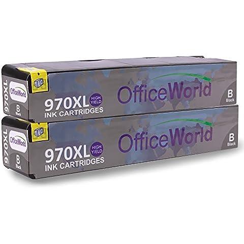 OfficeWorld Compatible HP 970XL 2 Negro Cartuchos de Tinta Alta Capacidad Compatible para HP Officejet Pro X451dn X451dw X476dn X476dw X551dw