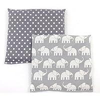 Preisvergleich für Set Kirschkernkissen Wärmekissen Körnerkissen ca.25 x 25 cm graue Punkte und graue Elefanten
