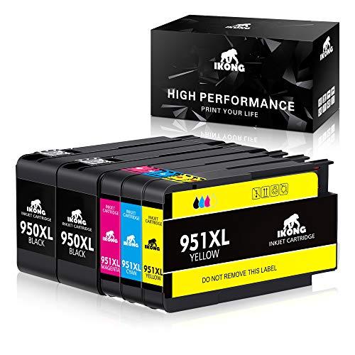 IKONG 950 XL 951 XL Ersatz für HP 950XL 951XL Druckerpatrone, Kompatibel mit HP Officejet Pro 8600 8610 8620 8630 8640 8100 8615 8625 8660 251dw 276dw (2 Schwarz, 1 Blau, 1 Rot, 1 Gelb) -