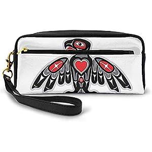 Tótem indígena Ave étnica Hawk Patrón de Motivo aviar sobre Fondo Liso Pequeña Bolsa de Maquillaje con Cremallera Estuche de lápices 20cm * 5.5cm * 8.5cm