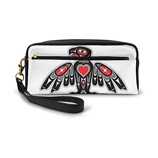 Tótem indígena Ave étnica Hawk Patrón de Motivo aviar sobre Fondo Liso Pequeña Bolsa de Maquillaje con Cremallera…
