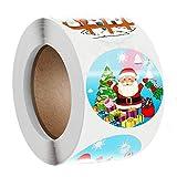 God jul klistermärken tätningsmärken, 3,8 cm julprydnad rullklistermärken, 8 mönster runda etiketter för företag, diverse semester tema rulle klistermärke för fest favoriter tillbehör (klistermärke 3)