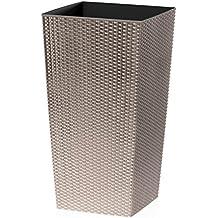 CrazyGadget® grande ratán de alto maceta de plástico cuadrada de jardín maceta de flores de interior y exterior negro, plástico, beige, 16.3L