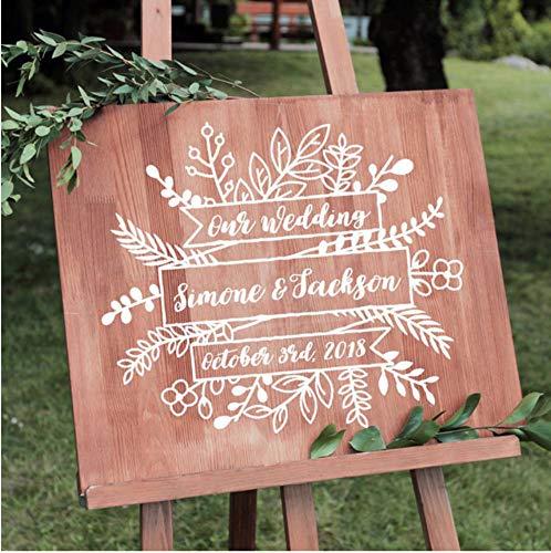 Qqasd Vintage Hochzeit Willkommen Aufkleber rustikale Blumen Hochzeit Dekor personalisierte Tafel Vinyl Aufkleber DIY Hochzeit Aufkleber Aufkleber 48x56 cm