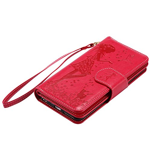 Leather Case Cover Custodia per Apple iPhone 6 plus/6s Plus 5.5 ,Ecoway Caso / copertura / telefono 3D Donna e gatto di disegno in rilievo dipinto di progettazione Folio PU a libro con 9 tasche di car rosso
