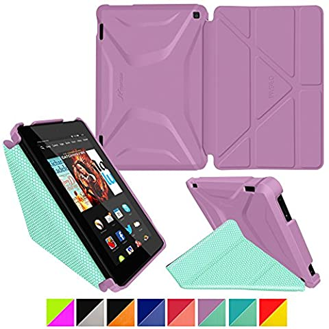 roocase Kindle Fire HD 7 2014 Case, new Kindle Fire HD 7 Origami 3D Slim Shell Case with Sleep / Wake Smart Cover [Supports Landscape, Portrait, Typing Stand] for All-New 2014 Fire HD 7 Tablet (4th Generation), Radiant Orchid / Mint Candy