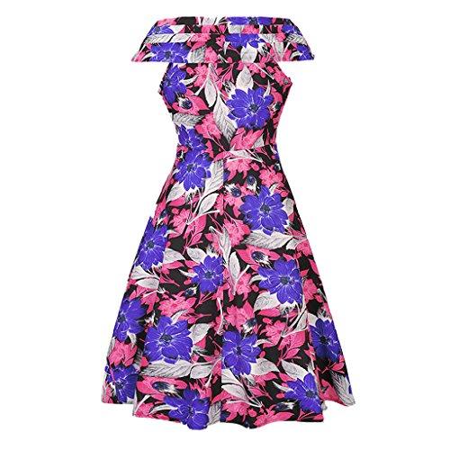MNBS Femme Robes Vintage Classique 1950S Style Ourlet Imprimer Fleur V-cou Rose