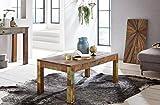 Couchtisch 110 x 60 x 47 cm Recycling Vintage Massiv-Holz Wohnzimmertisch - Design Landhaus Sofatisch - Tisch Wohnzimmer Shabby-Chic aus Mango Bootsholz