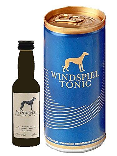 Windspiel Premium Dry Gin Deutschland Miniatur 0,04 Liter + 1 Tonic Water Dose