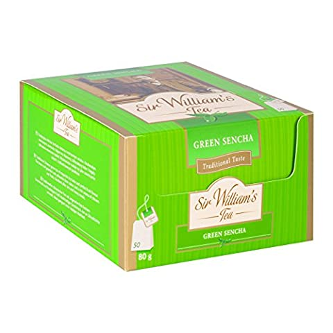 SIR WILLIAM`S GREEN SENCHA MARACUJA (with passionsfruit flavor) Pack of 50 enveloped teabags; Premium Tea Bags