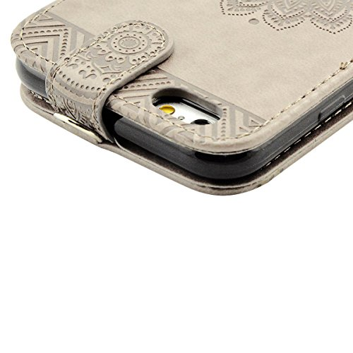 iPhone 6S Plus Hülle, iPhone 6 Plus Ledertasche - Fraelc® UltraSlim 360 Grad Klapphülle Flip Case mit Karte Halter & Standfunktion Leder Schale Henna Motiv Design Leder Etui für Apple iPhone 6 Plus/6S Grau