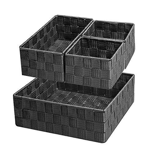 Scatole di immagazzinaggio,divisori per cassetti,stoccaggio contenitori ceste e cestini organizzatori per i cassetti dell'ufficio, della cucina, della biancheria e del bagno,set di 4,nero