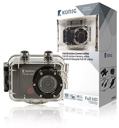 König 1080p Full HD Actioncam wasserdicht Action Kamera + Zubehör Set Digitalkamera als Helmkamera für Mountainbike Fahrrad oder Snowboard etc. Sport