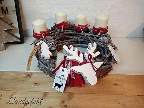 #handmade ♥ Adventskranz Rebenkranz mit Holzelch Hirschgeweih Shabby Landhausstil von Landgefühl ♥