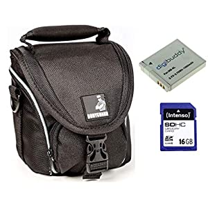 Bodyguard-Sparset-Kameratasche-Tasche-Schwarz-Ersatzakku-NB-6L-16GB-SD-Karte-fr-Canon-PowerShot-SX540-HS-SX530-HS-SX520-HS